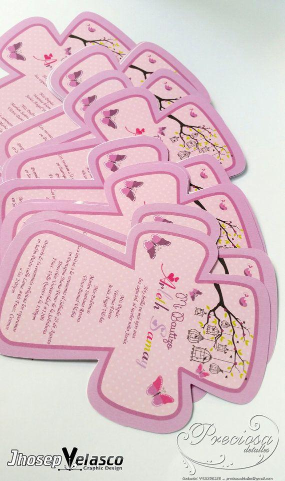 Invitación Editable Bautizo Cruz niña Editable por JhosepVelasco