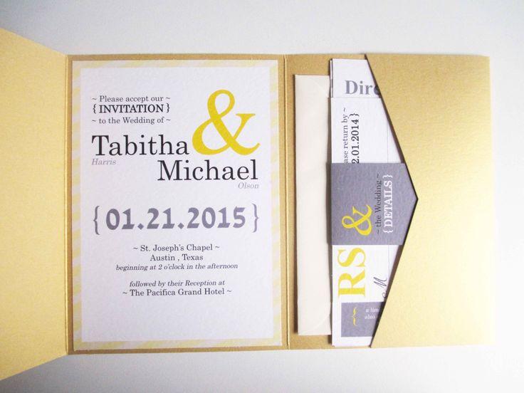 ONE SAMPLE Yellow Ampersand Pocketfold Wedding by VanillaRetro