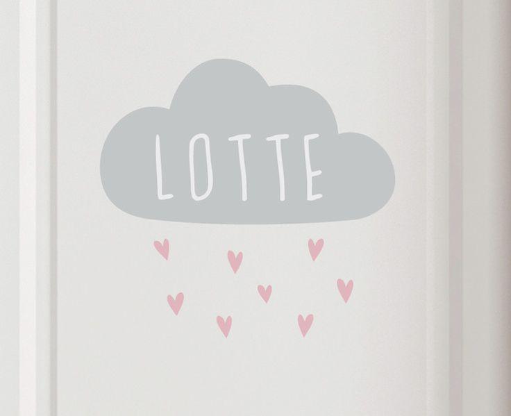 """Tür- & Namensschilder - Türschild  """"Wolke mit Herzen"""" + Name - ein Designerstück von jamsstyle bei DaWanda"""