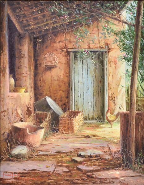 Fundo de quintal com galináceo Tácito Ibiapina (Brasil, 1950) óleo sobre tela, 50 x 40 cm