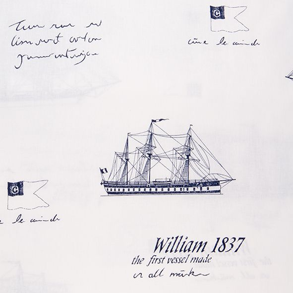 Bavlněná látka Lodě William modré na bílé