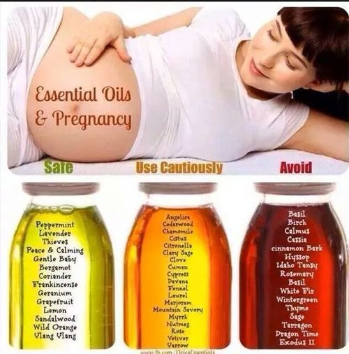 Essential Oils during pregnancy-- an infographic explanation of which oils to use, avoid , or use caution with!