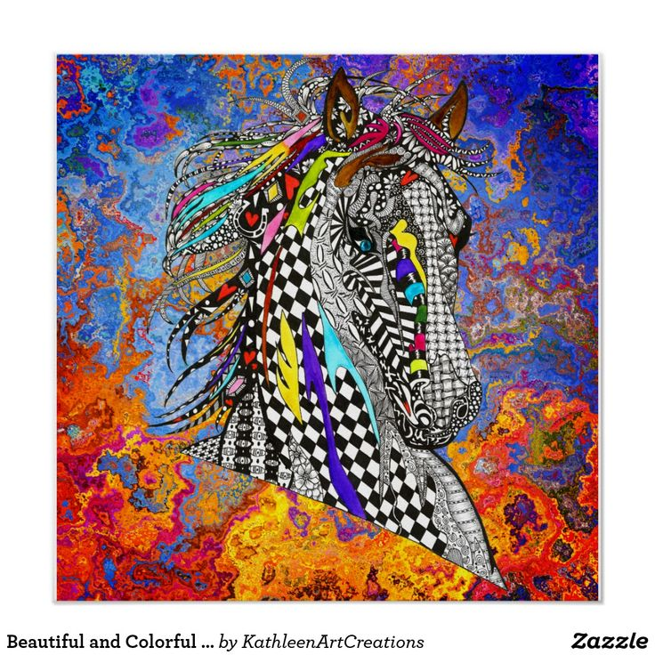 """Beautiful and Colorful Horse Poster 20""""X20"""""""