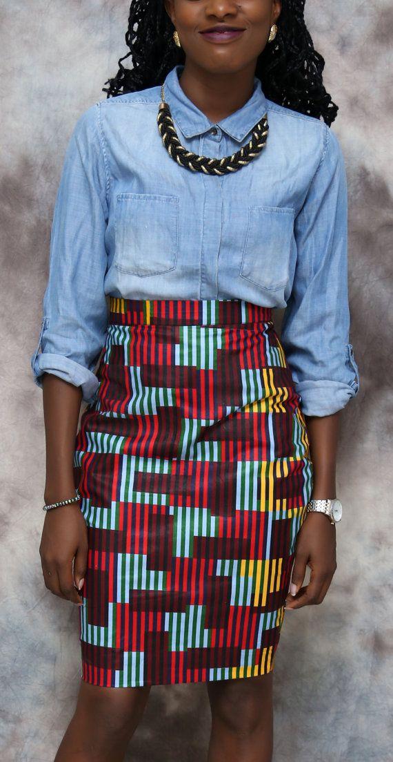 Jupe crayon classique imprimé africain jupe par HouseOfIzzi sur Etsy
