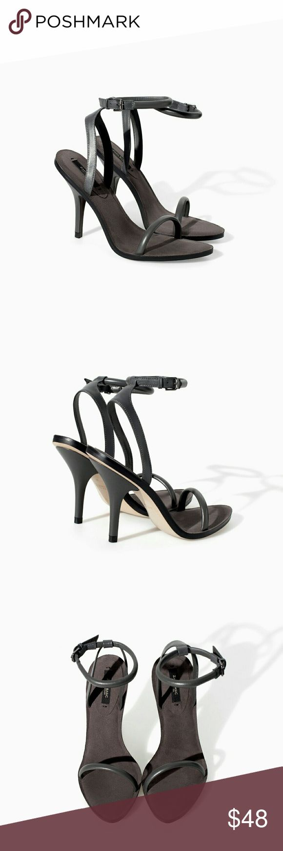Zara Basic Collection Dark Grey Heeled Sandal Worn once for no more then 30 mintues for a quick photo shoot. A must have for every women's closet. Zara size 38 which is a women's US size 7.5 No Box. Zara Shoes Heels