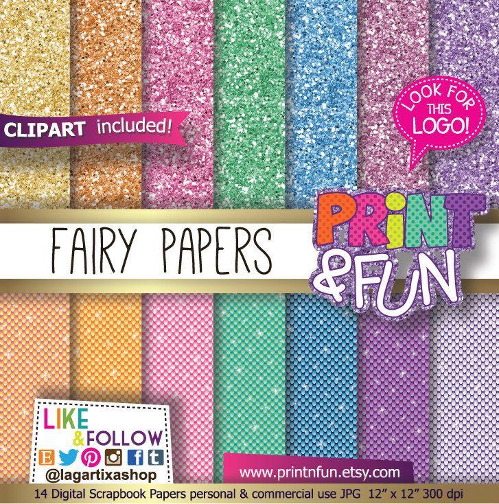 Fairy Digital Paper fairies backgrounds clip art sparkles Patterns glitter papers lace purple gold teal aqua Party Printables #PinkGold #Scrapbook #DigitalPaper #Paper