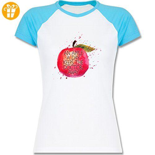 Statement Shirts - An apple a day keeps the doctor away - XXL - Weiß/Türkis - L195 - zweifarbiges Baseballshirt / Raglan T-Shirt für Damen - Shirts mit spruch (*Partner-Link)