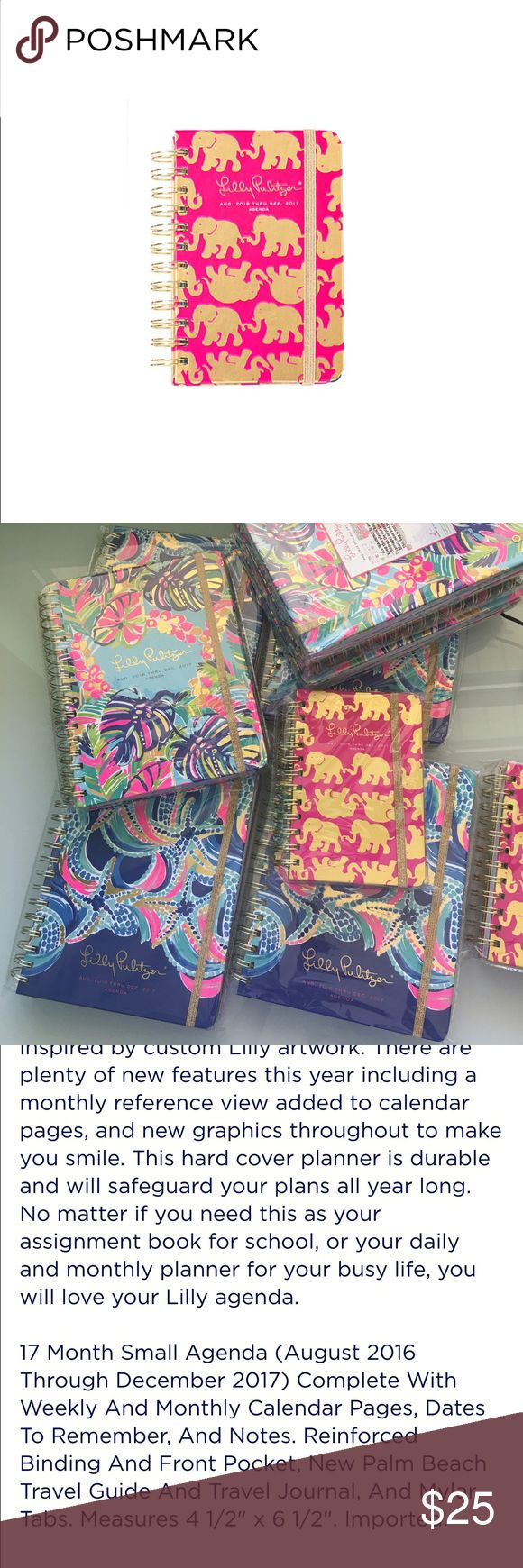 3 left! NWT Retail - Lilly Pulitzer Small Agenda I am a Lilly Retailer, so I have to make my $20 minimum sale, hence the $25 price. Agendas will be on lpsdesigns .com for $20 plus shipping.  2016-2017 Agenda. No trades. One left in stock. Lilly Pulitzer Accessories