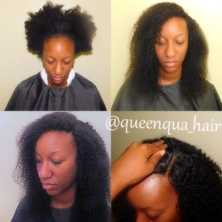 Full sew in with lace closure . Kinky curly Brazilian hair sew in