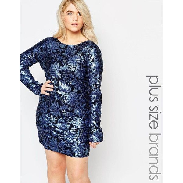 Club L Plus Size Dress In Floral Sequins ($50) ❤ liked on Polyvore featuring dresses, navy, plus size, floral dress, white sequin dress, navy plus size dress, plus size floral dresses and plus size sequin dress