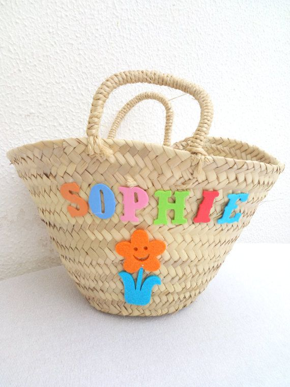 Gift Basket Personalized - Girl Gifts with Name - Name Gifts Shopping Bag - Palm leaf Handmade Basket - Felt Letters and Animals Handbag