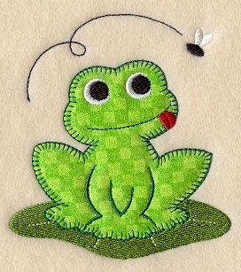 frog - fabric postcard idea