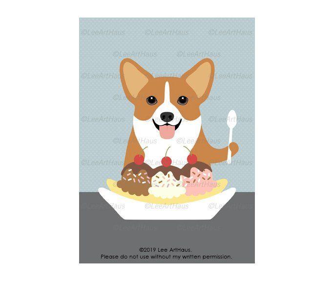 83G – 5 x 7 rote und weiße Corgi Hund essen Banana Split Eisbecher Wandkunst …   – Lee ArtHaus Corgi Dog Products