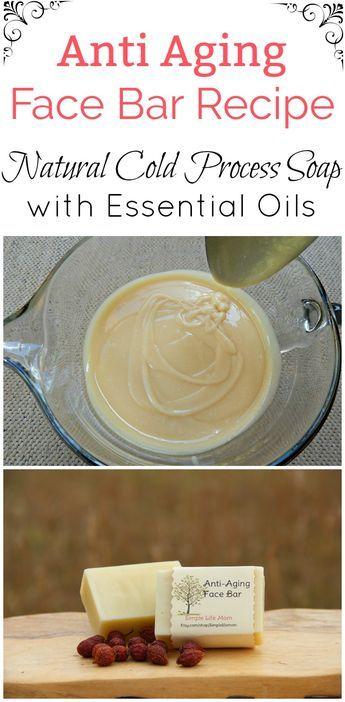 Anti Aging Face Bar Recipe - Natural Cold Processed Soap Recipe with essential oils #organic #naturalskincare