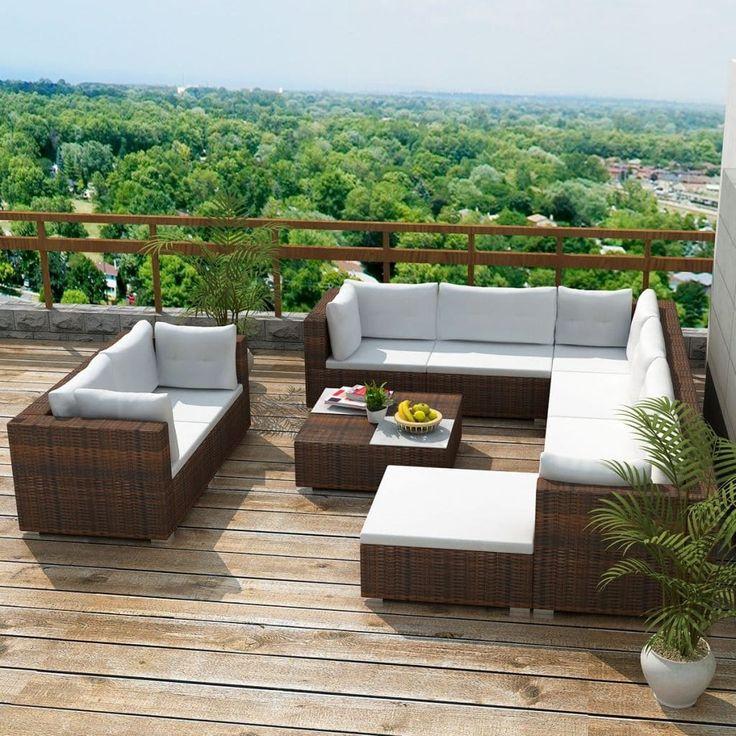 vidaXL 32 Piece Garden Sofa Set Brown Poly Rattan, Patio Furniture