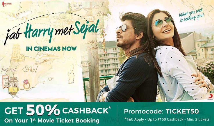Offer -Get 50% Cashback on Movie Tickets Jab Harry Met Sejal Movie Tickets.  Use Promocode - TICKET50  Book Online- https://paytm.com/movies/indore