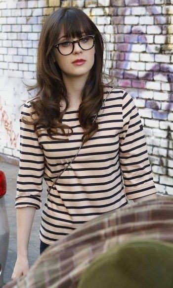 Jess's cream and black striped tee on New Girl.  Outfit Details: http://wornontv.net/11848/ #NewGirl