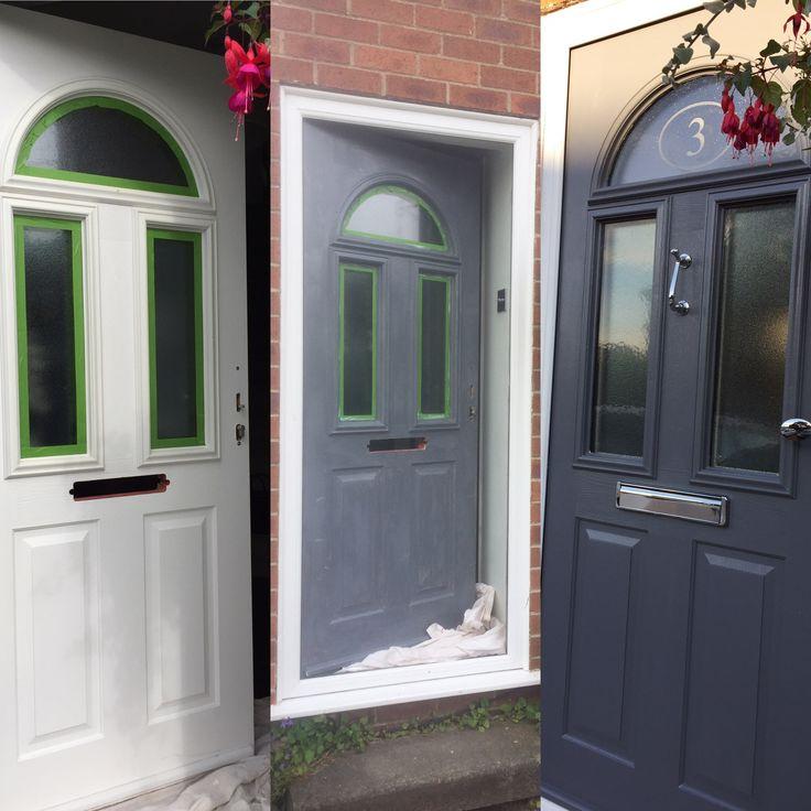 UPVC painted front door. 2 coats UPVC primer from Sandtex & 2 coats Dulux Exterior Satin. Cheap front door update