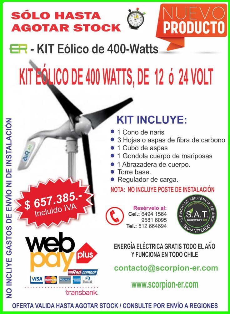 Energía Eólica Kit disponible en Scorpion-er. Generador eólico de 400 Watts, un buen complemento para tu sistema fotovoltaico de 12 volt ó 24 volt