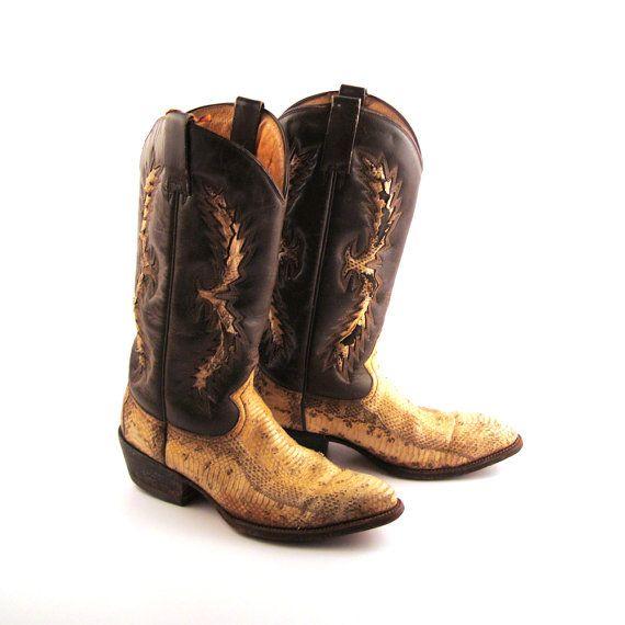 Snakeskin Cowboy Boots for Men | Snakeskin Cowboy Boots Vintage 1980s Men's Brown Leather Western
