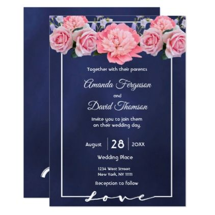Wedding invitation card blue with pink flowers - romantic wedding gifts wedding anniversary marriage party