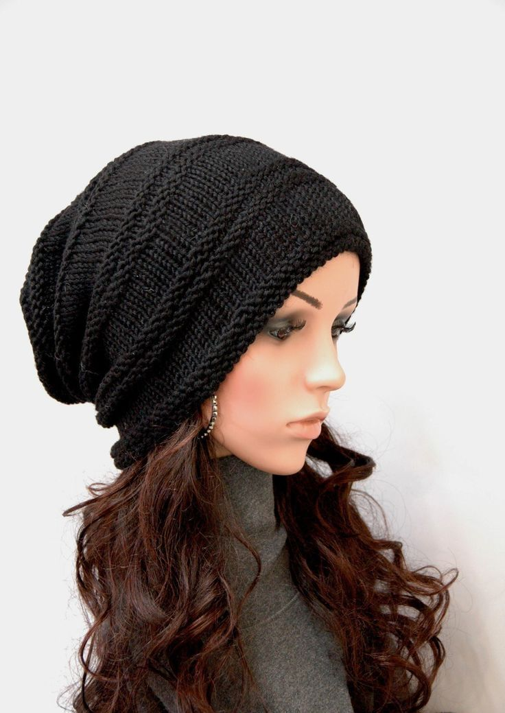 Hand Knit Hat Woman Hat Man Hat Black Chunky Wool Hat -7244
