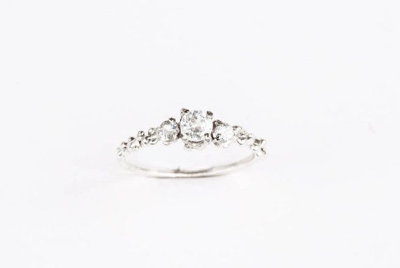 White topaz three stone sterling silver engagement ring by Oore