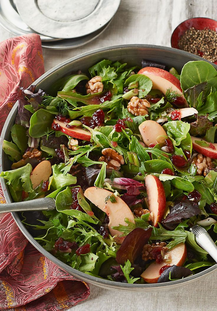 Apple-Cranberry Salad Toss – Apples and dried cranberries make this mixed green salad recipe sweet and tart. Serve at your next party—or any night you want the family to feel extra-special!