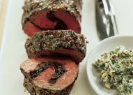 Roast Beef Tenderloin with Dried Figs and Nut Stuffing topped with a delicious Stilton Butter   Click to view step-by-step stuffing and tying diagram.