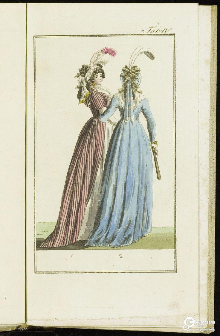 Modeprent (in kleur) uit 'Journal Fur Fabrik Manuf... 1795