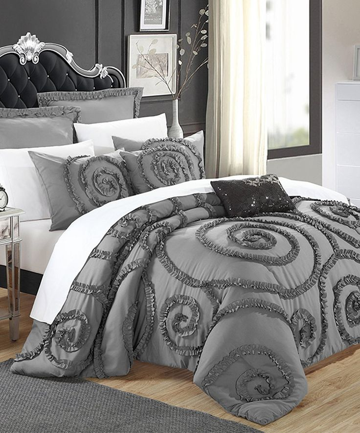 Take a look at this Gray Rosalia Ruffled Comforter Set today!