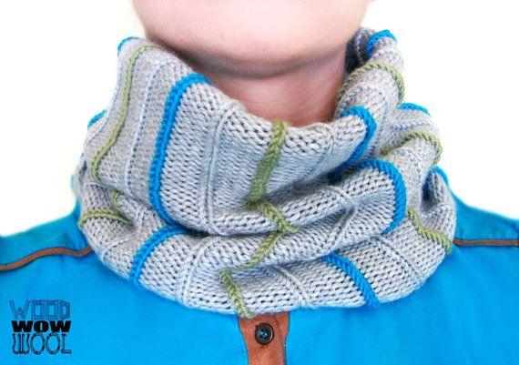 Gray knit infinity scarf, turquoise, green, merino wool by WoodWowWool