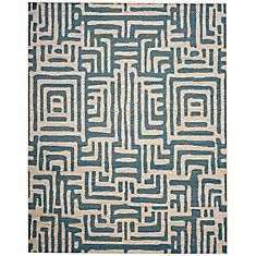 Amsterdam Ivory / Light Blue 8 Feet X 10 Feet Area Rug