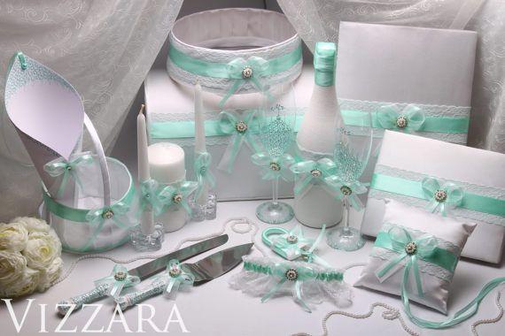 Blue Wedding Glasses Mint Wedding Card Box Wedding Ring Bearer Pillow Wedding book Garter Girl Basket Unity Candles Wedding ideas Cake set