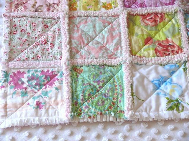 Amy Butler, Vintage Bedsheet, Table Cloth Patchwork Rag Quilt By Neshau0027s  Vintage Niche,
