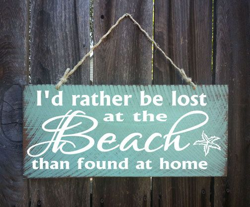 I'd Rather Be Lost At The Beach Sign, Surf Decor, Surf Shack,  Beach Sign, Surfing Signs, Beach Decor, Coastal Living
