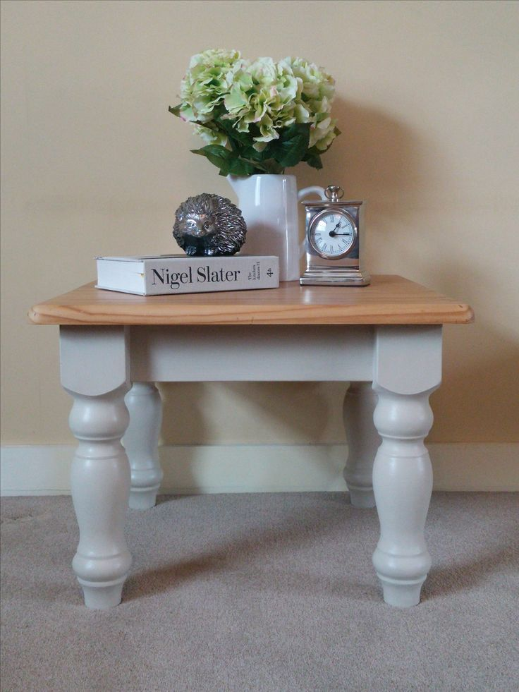 SOLD******Upcycled Solid Pine Coffee Table. Painted in a soft white finished with wax and a natural pine top varnished for longevity. 60cm square, 46cm high.