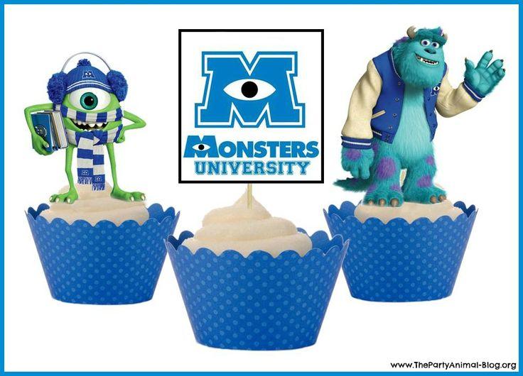 Monsters University Cupcake Ideas | FREE Printable Monsters University Cupcake Toppers | ThePartyAnimal ...