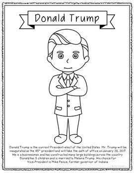 This coloring page featuring the soon-to-be 45th President of the United States of America will make a great addition to your discussions about debates, elections, popular vote vs. electoral college, political parties, and inaugurations. It is formatted t