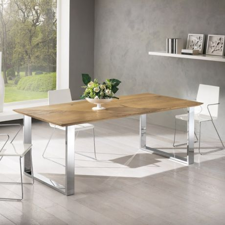 Table moderne en bois ch ne et pi tement m tal chrom for Pietement table metal