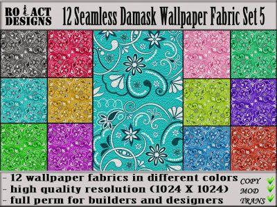 Ro!Act Designs 12 Damask Wallpaper Fabric Set 5