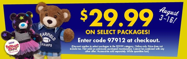 Get Offer ANY Animal + ANY Outfit + ANY shoes only $29.99 Use Build A Bear Coupon Code 97912