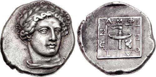 Amphipolis Tetradrachm from the Parthenon Group . MACEDON, Amphipolis. 357/6 BC. AR Tetradrachm . Head of Apollo facing slightly right, wearing laurel wreath, drapery around neck / AMΦ-IΠO-ΛIT-ΩN around raised linear square enclosing race torch; to inner right, small sphinx seated left , Klazomenai, Amphipolis