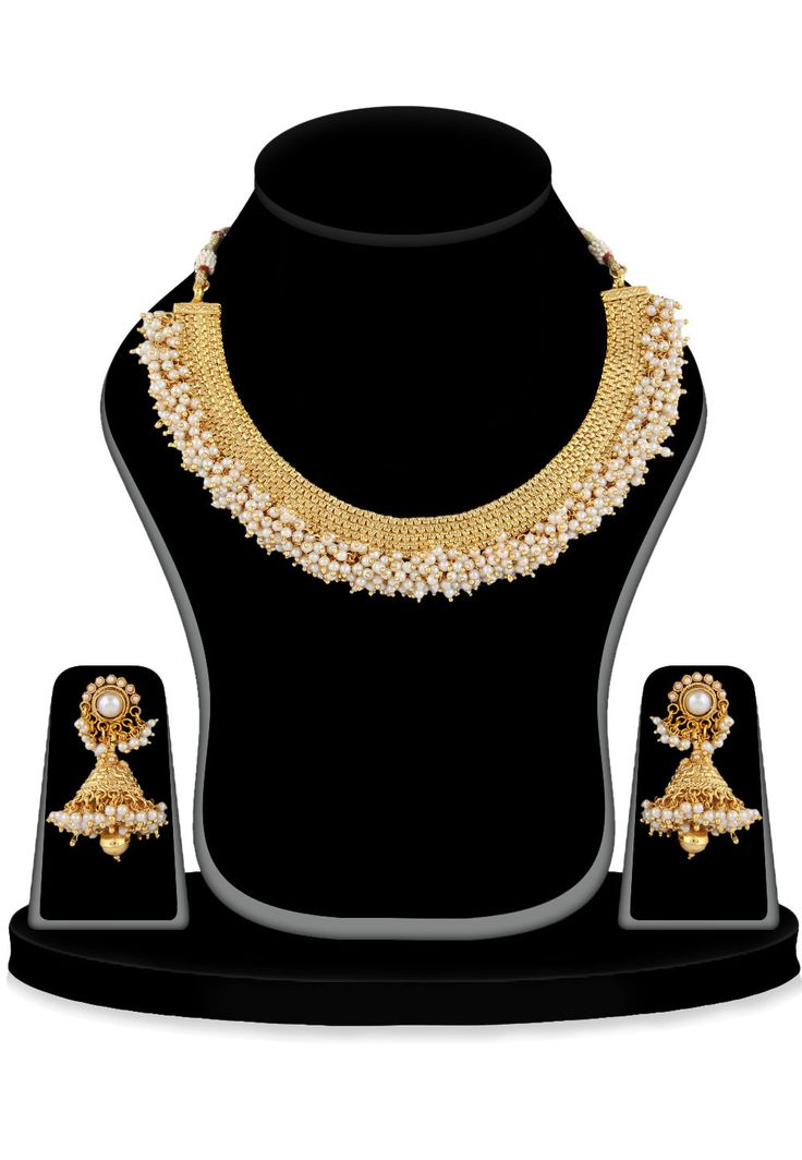 Artificial Pearl Necklace Set in Golden and White The base material is Copper It is highlighted with beads and enclosed with string The set is accompanied by a pair of earring