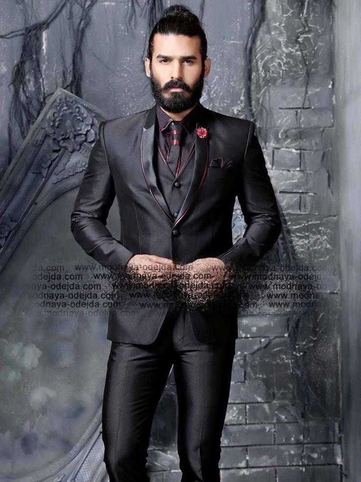 Чёрный мужской костюм-тройка (с жилетом)   рубашка с галстуком