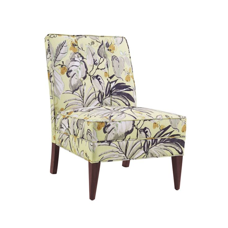Linon Sandra Floral Slipper Chair, Beige (Fabric)