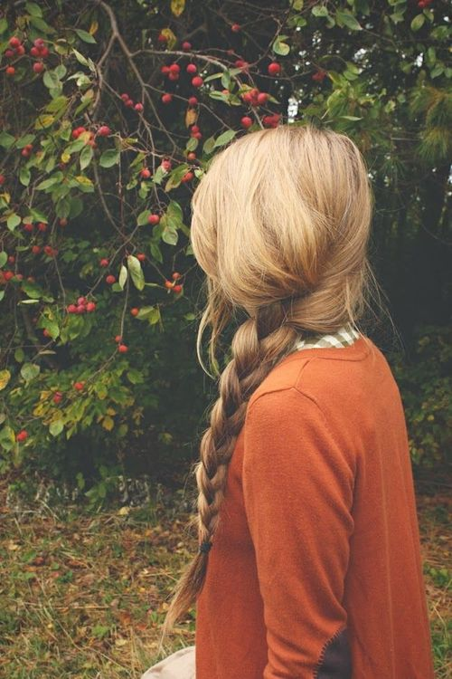 Pretty braid and an orange sweater