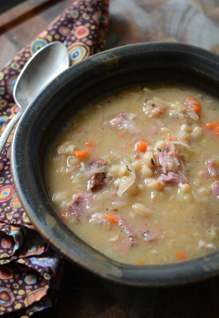 Ham, bean & sauerkraut soup. Yum. No extra salt needed ...