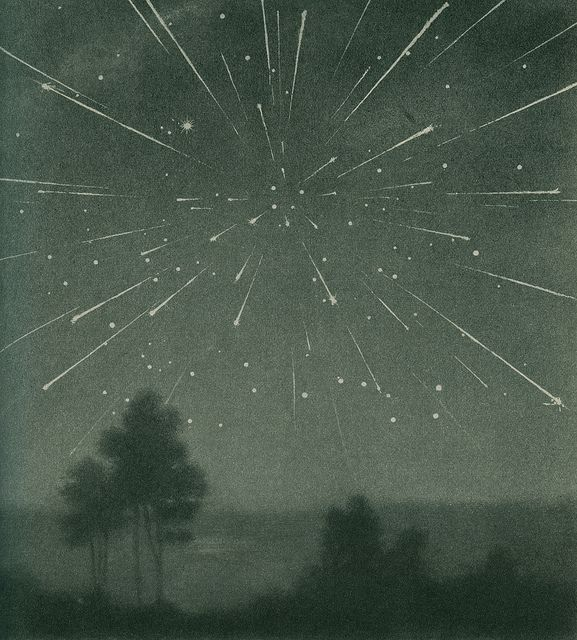 The radiant meteor storm of 9 October 1933, Larousse Encyclopedia of Astronomy.: Shooting Stars, Amazing Universe, Radiant Meteor, October 1933, Astronomy, Meteor Storms, Larouss Encyclopedias, Exploring Universe