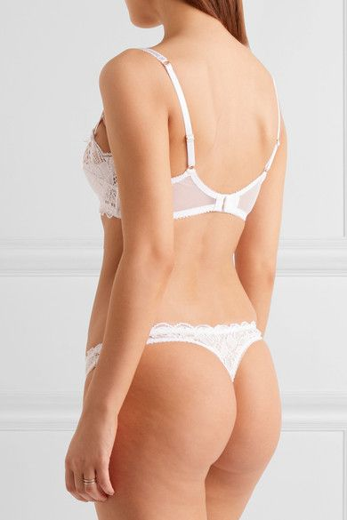 L'Agent by Agent Provocateur - Reia Stretch-lace And Tulle Underwired Balconette Bra - White - 32DD
